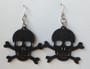 Skull and Crossbones Earrings- Black