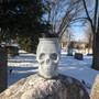 Gray Skull Mason Jar Candle-Rose Scent