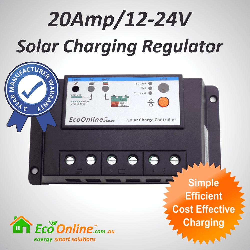 20Amp EcoOnline Solar Charge Controller/Regulator (for Solar Charging Lead-Acid Batteries)