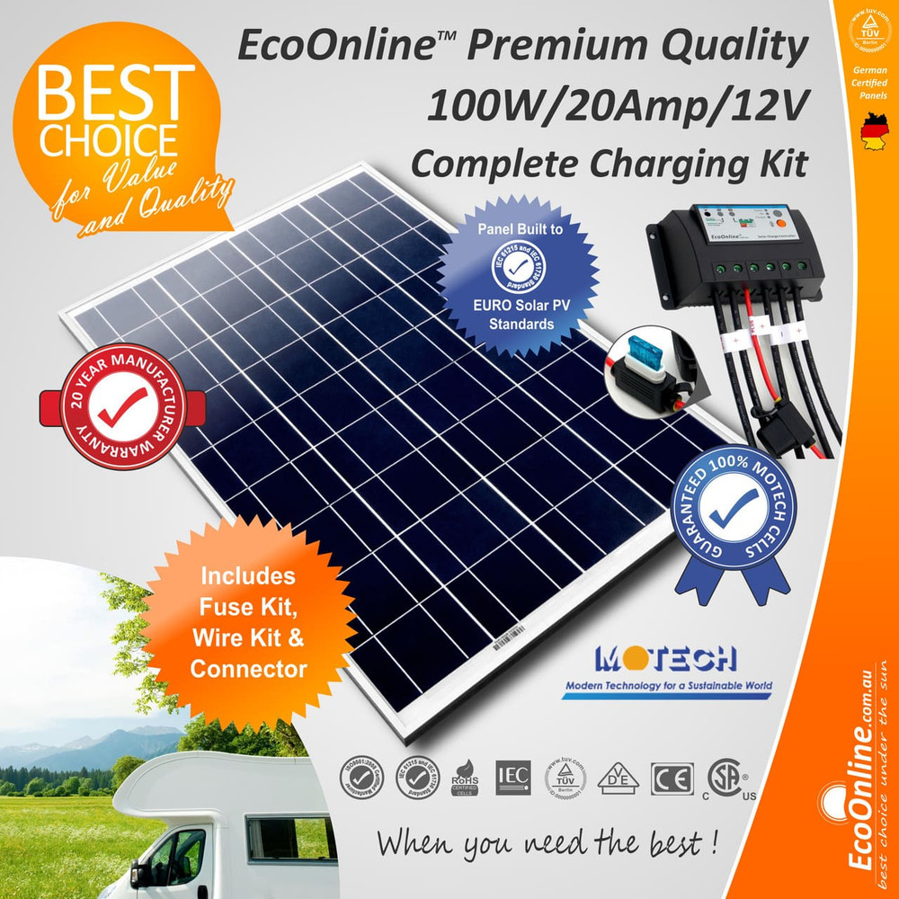 Solar Battery Charging Kit - 100W Solar Panel + 20Amp EcoOnline Controller/Regulator