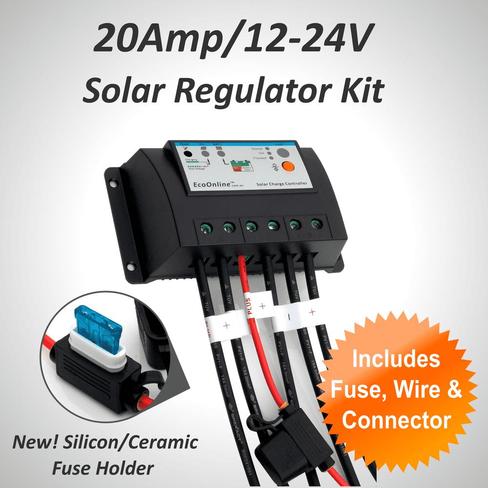 20Amp EcoOnline Solar Charge Controller/Regulator Kit (for Solar Charging Lead-Acid Batteries)