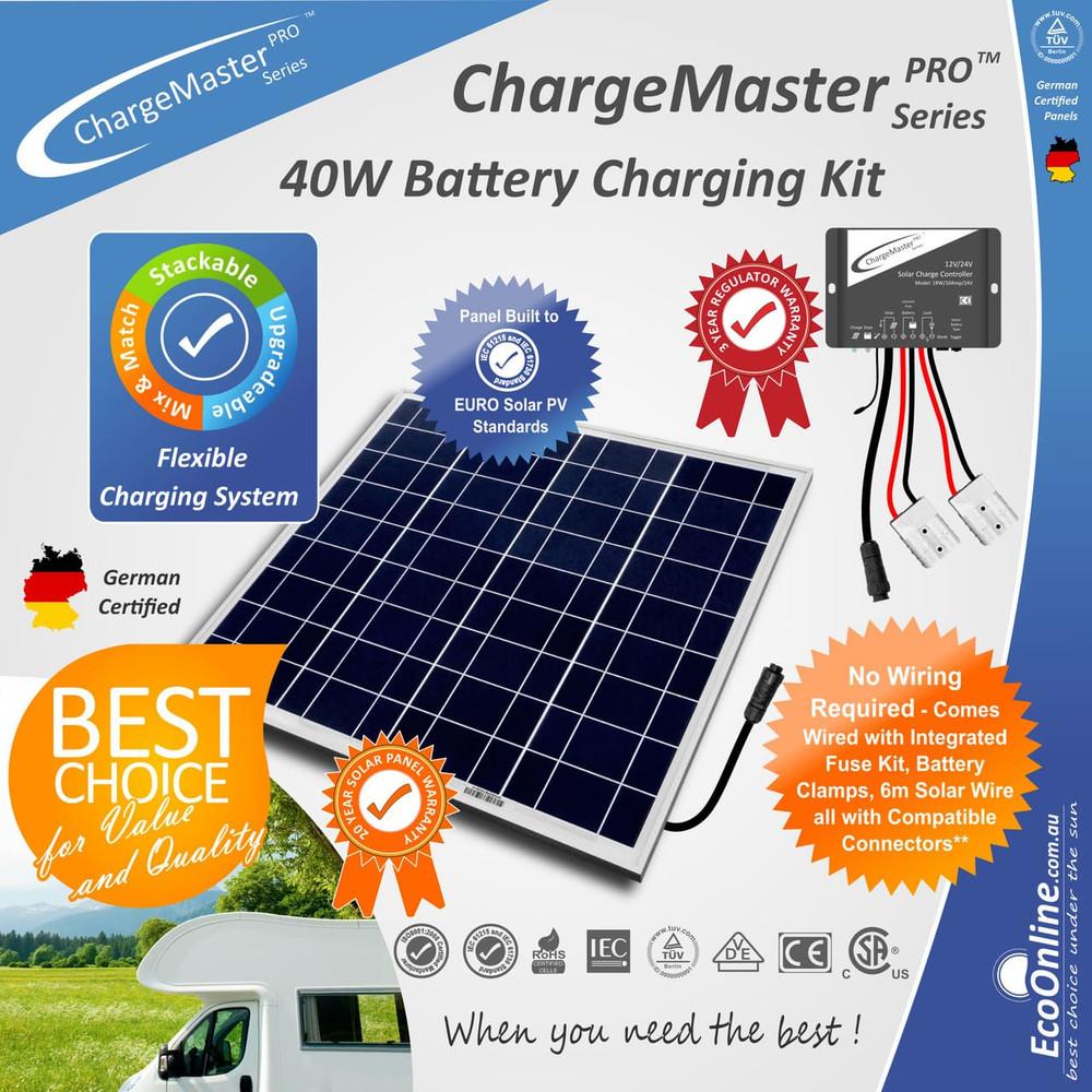 ChargeMaster Regulator - 40W Watt Solar Panel Battery Charging Charger Kit