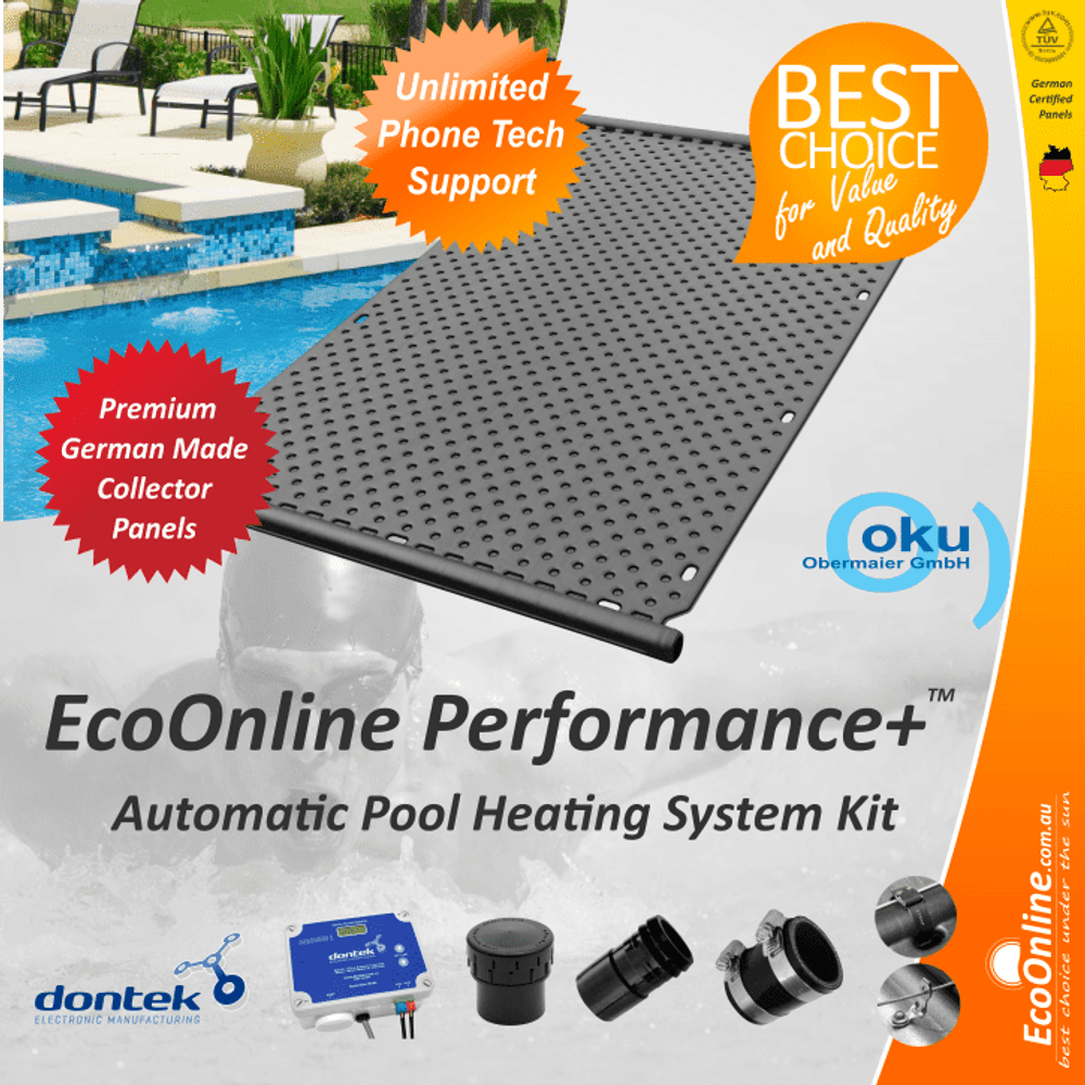EcoOnline Performance+ OKU Solar Pool Heater Panel - Automatic System