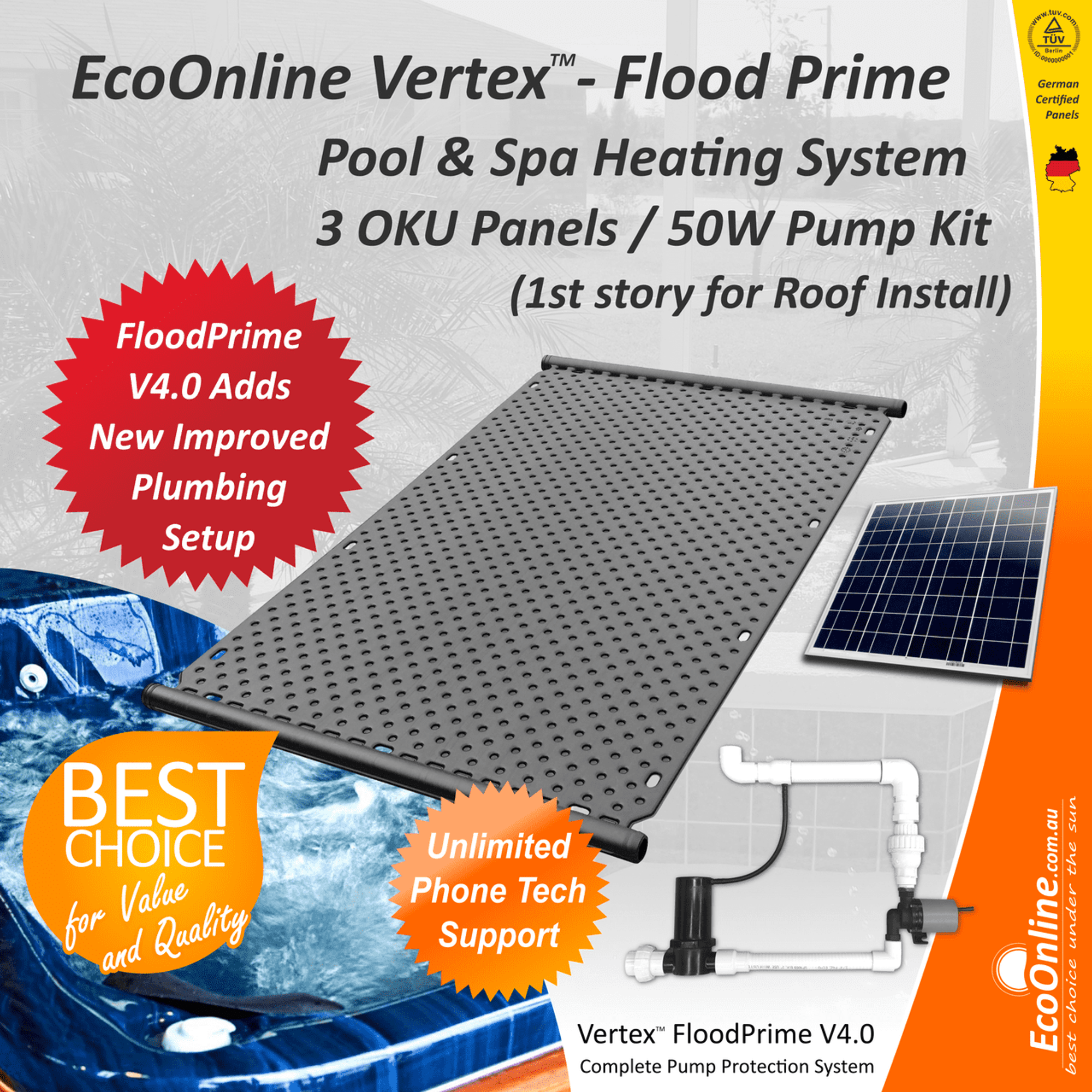 Flood Prime Vertex Solar Spa Heating System 3 Oku Panels 50w Home Water Power Pool Systems