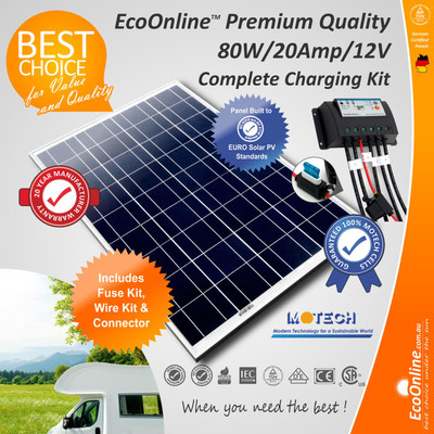 Solar Battery Charging Kit - 80W Solar Panel + 20Amp EcoOnline Controller/Regulator
