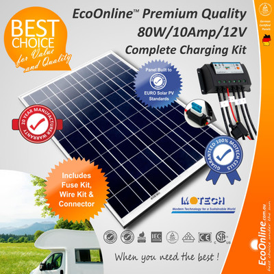 Complete Battery Charging Kit - 80W Solar Panel + 10Amp Regulator Controller
