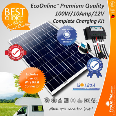 Complete Battery Charging Kit - 100W Solar Panel + 10Amp Regulator Controller