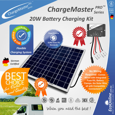 ChargeMaster Regulator - 20W Watt Solar Panel Battery Charging Charger Kit
