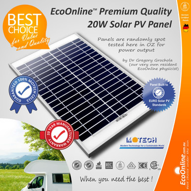 20w 12v Solar Panel With Motech Cells Ecoonline