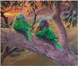 """Morning Chores"" - an original oil painting of Lorikeets by Swapnil Nevgi"