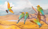 """Rainbow bee-eaters"" - art reproduction of original painting by Swapnil Nevgi"