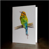 "Greeting card - made from art print of my original art ""Rainbow Bee-eater"""