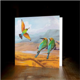 """Greeting card - made from art print of my original art """"Rainbow Bee-eaters"""""""