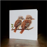 "Greeting card - made from art print of my original art ""Two Kookaburras"""