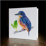 "Greeting card - made from art print of my original art ""Azure Kingfisher"""