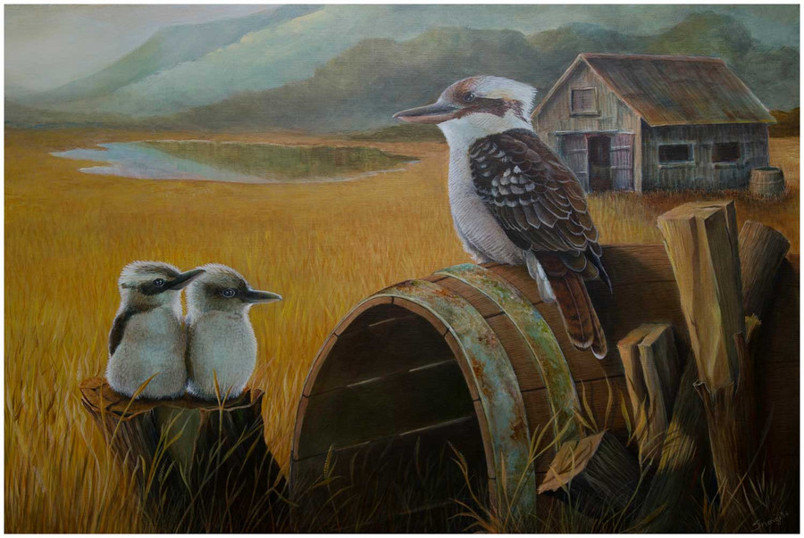 Limited edition prints of 'Kookaburra in the outback' - an original painting by Swapnil Nevgi