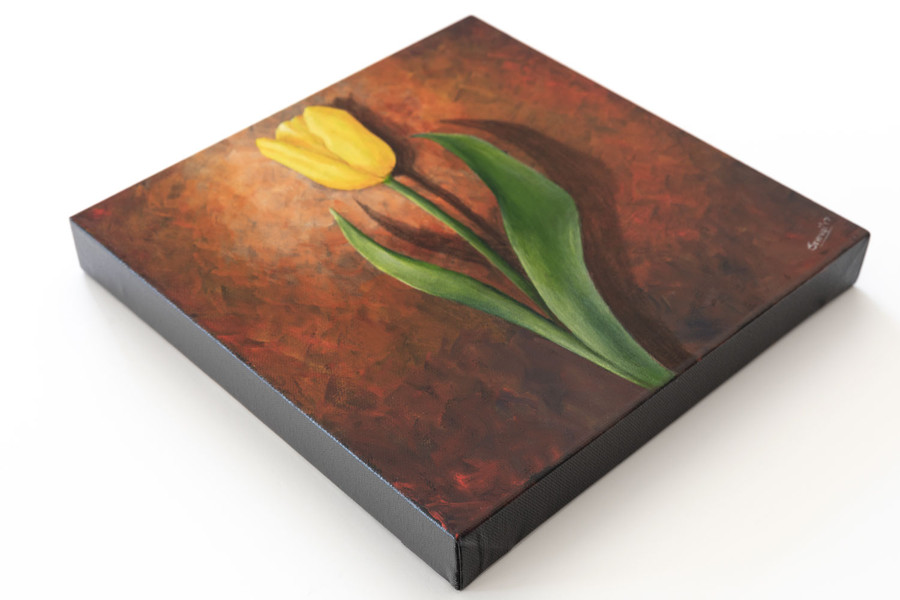 "Side view of ""Yellow Tulip on Red"" painting"