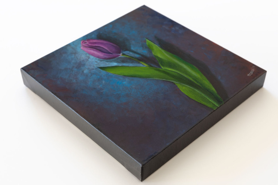 """Side view of """"Purple Tulip on Blue"""" painting"""