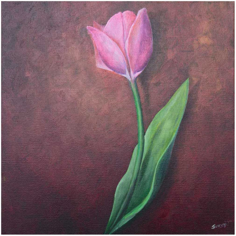 """Pink Tulip on Red"" - an original painting by Swapnil Nevgi"