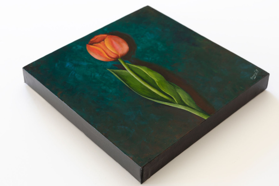 "Side view of ""Orange Tulip on Emerald"" painting"