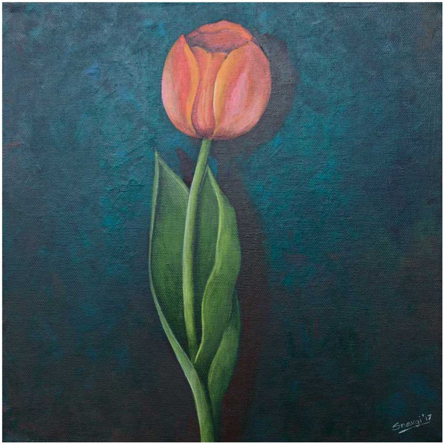 """Orange Tulip on Emerald"" an original tulip painting by Swapnil Nevgi"