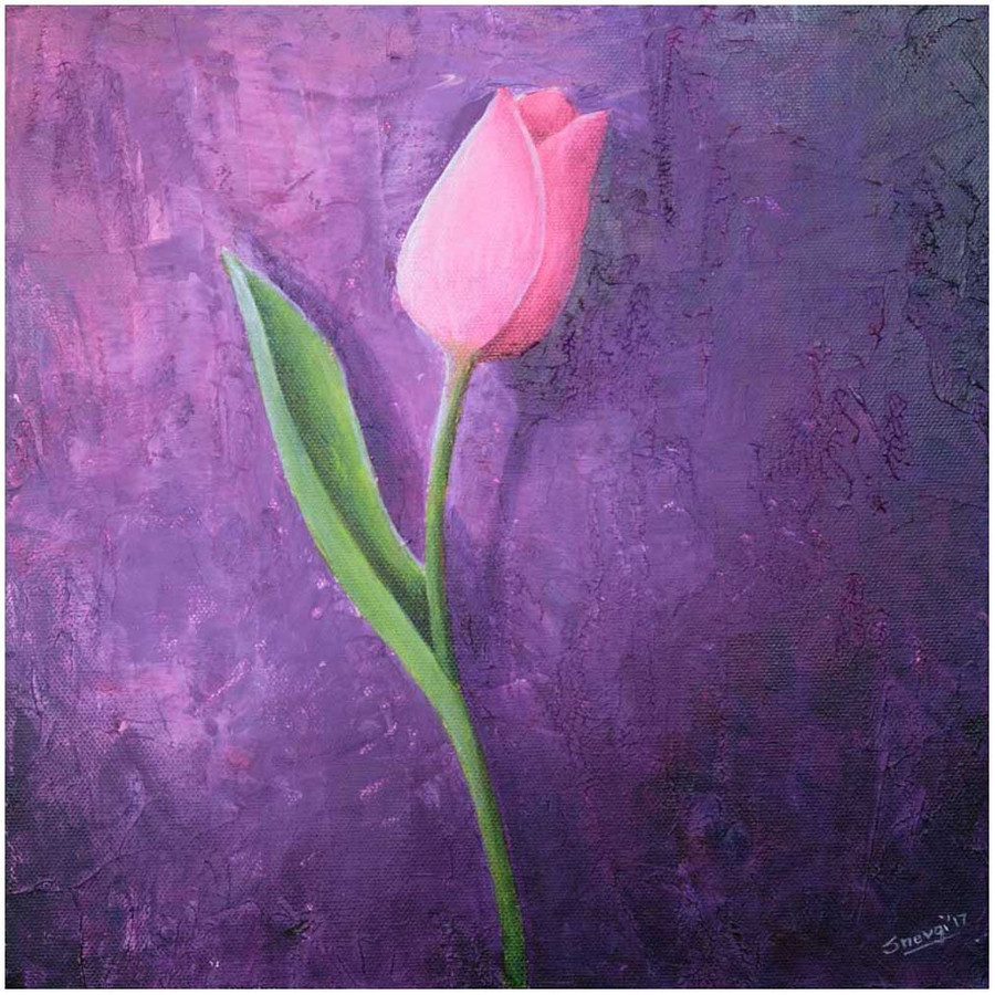 """Pink Tulip on Purple"" - an original tulip painting by Swapnil Nevgi"