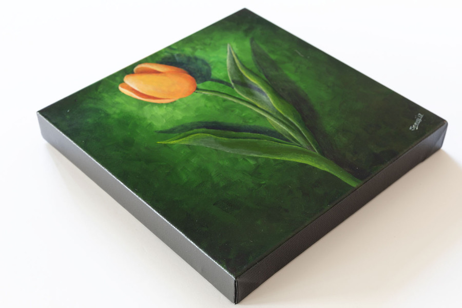 "Side view of ""Orange Tulip on Green"" painting"