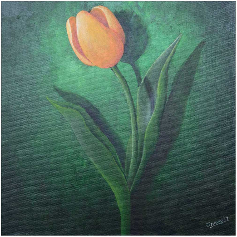 """Orange Tulip on Green"" - an original tulip painting by Swapnil Nevgi"