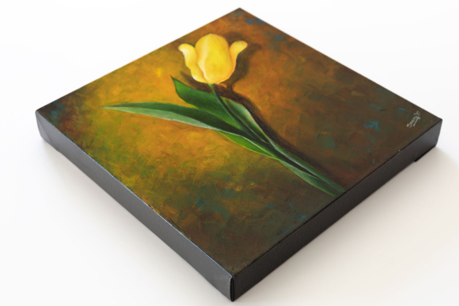 "Side view of ""Yellow Tulip on Yellow"" painting"