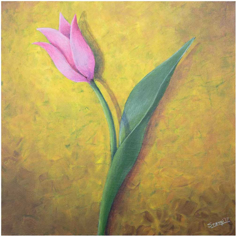 """Pink Tulip on Yellow"" - an original tulip painting by Swapnil Nevgi"