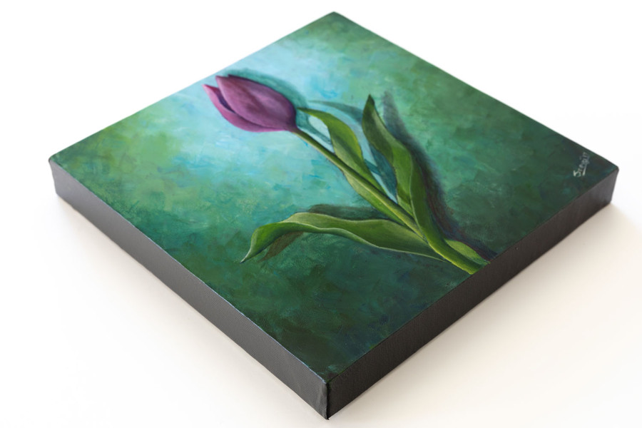 """Side view of """"Purple Tulip on Green"""" painting"""