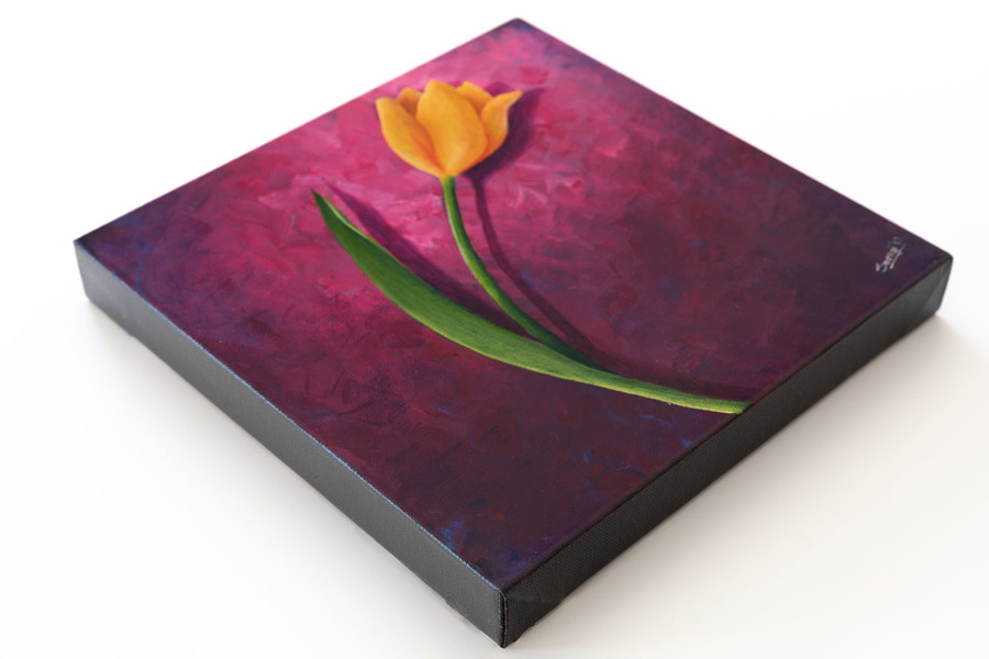 "Side view of ""Yellow Tulip on Purple"" painting"