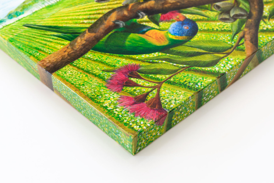 """Side view of  """"Lorikeets"""" painting"""