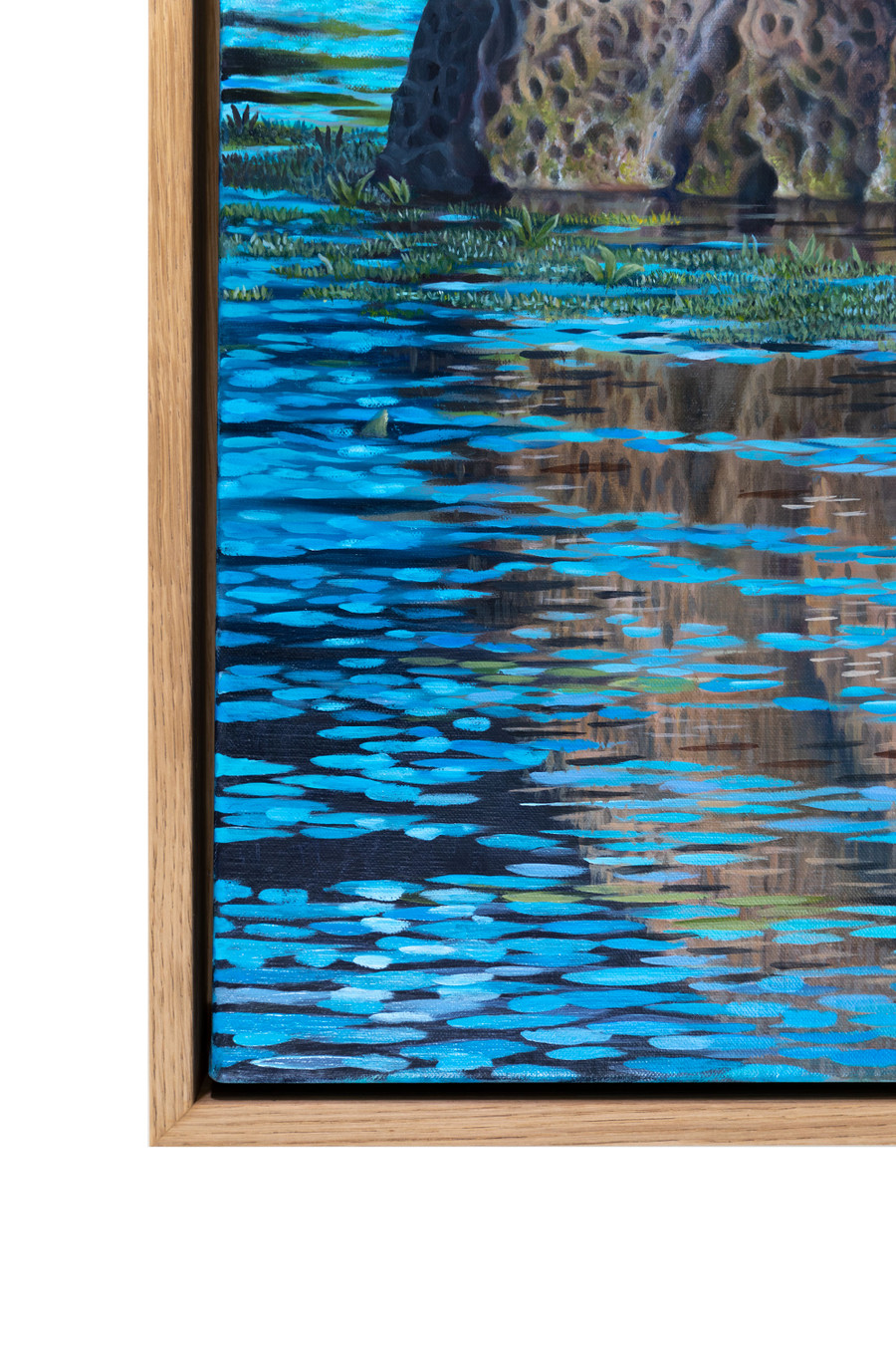 """Close up of the frame of """"Cormorant the Great""""  painting"""