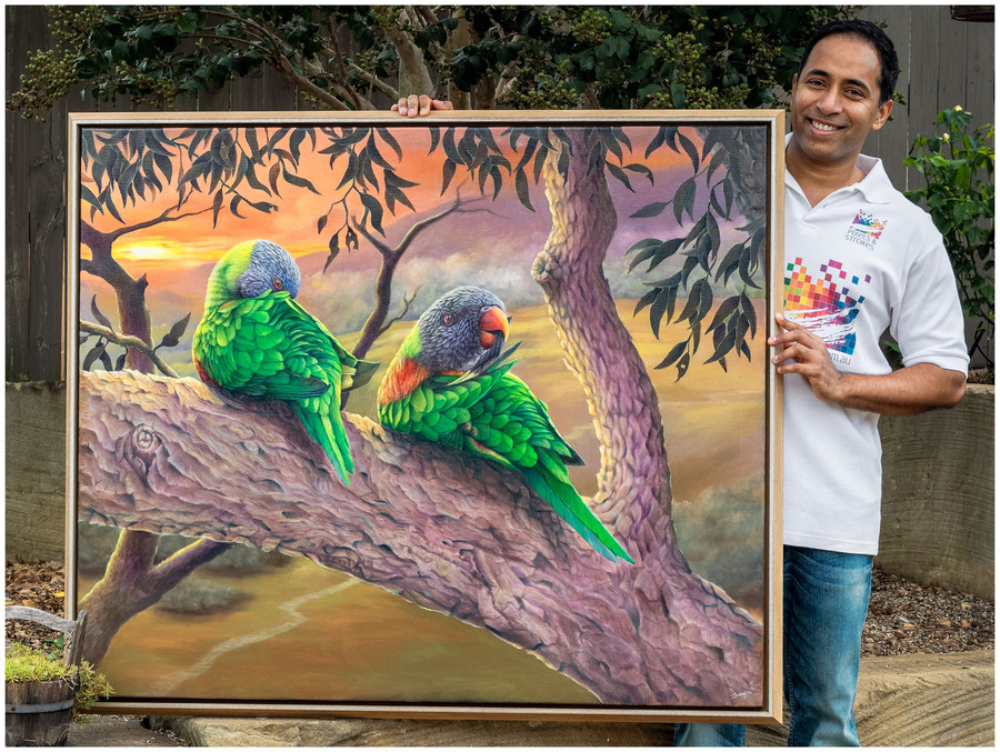 """Swapnil Nevgi with his painting """"Morning Chores"""""""