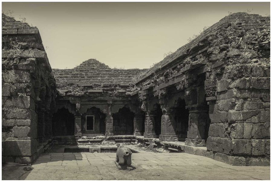 """Historical temple"" - black and white fine art photo print of a historic temple in India by Swapnil Nevgi"