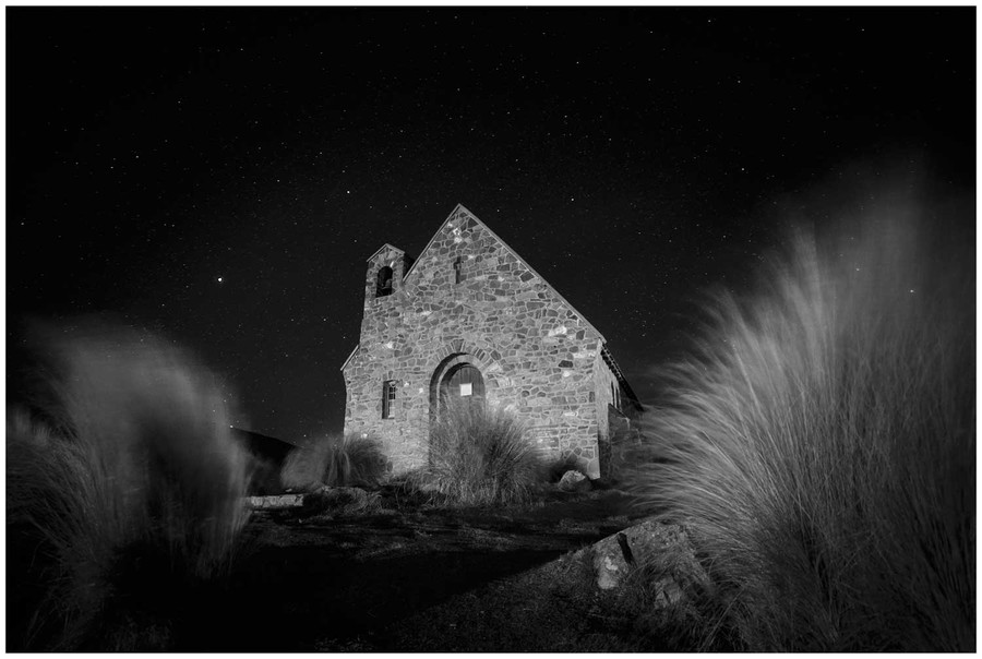 """Night at the Church"" - Lake Tekapo old Church fine art photo print in black and white by Swapnil Nevgi"