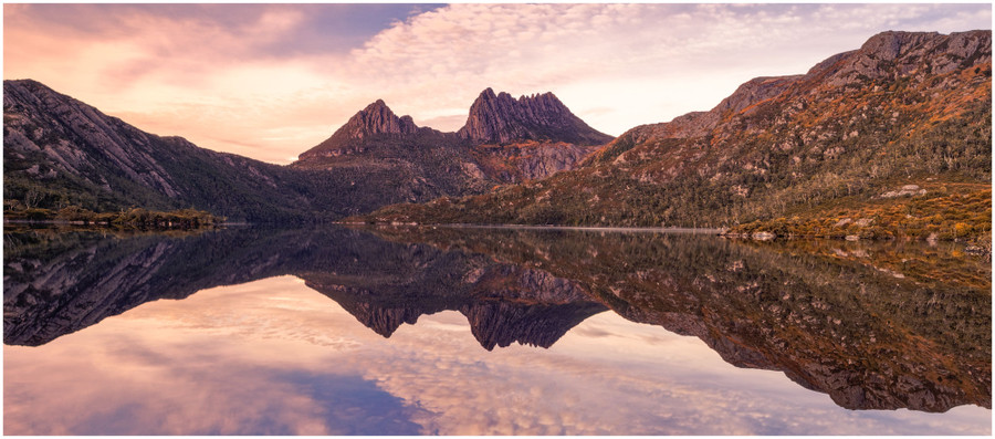 """""""Calm Reflections of the Cradle"""" -  fine art photo print of the Cradle Mountain reflecting in Dove lake by Swapnil Nevgi"""