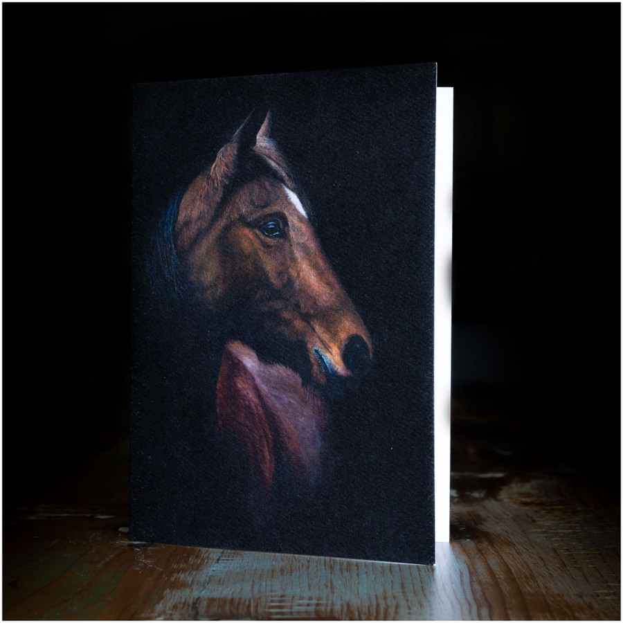 """Greeting card - made from art print of my original art """"Horse Portrait"""""""