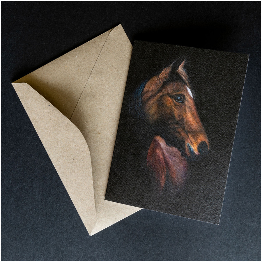 'Horse Portrait' greeting card shown with the envelope supplied