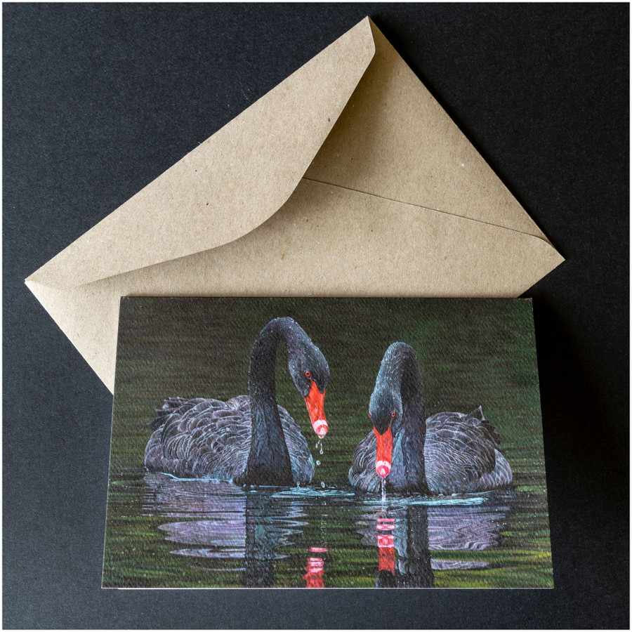 'Black Magic' greeting card shown with the envelope supplied