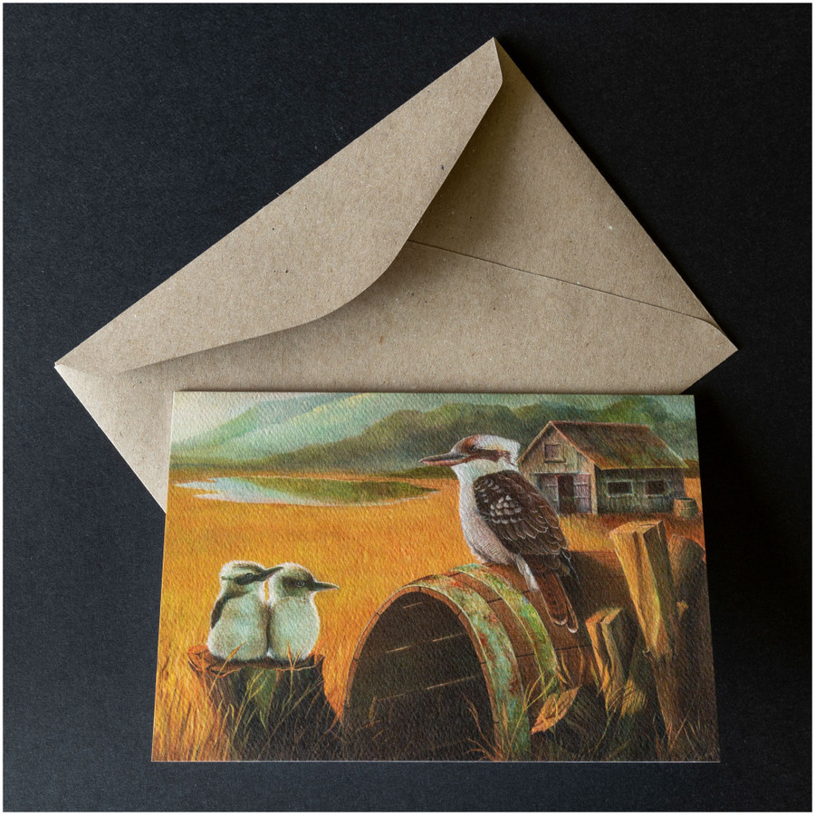 'Kookaburra in the Outback' greeting card shown with the envelope supplied