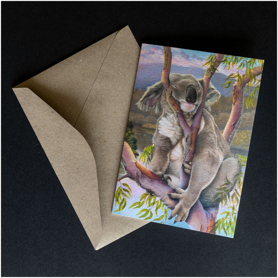 'Sleeping beauty' greeting card shown with the envelope supplied