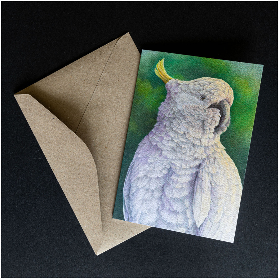 'Sulpher Crested Cockatoo' greeting card shown with the envelope supplied