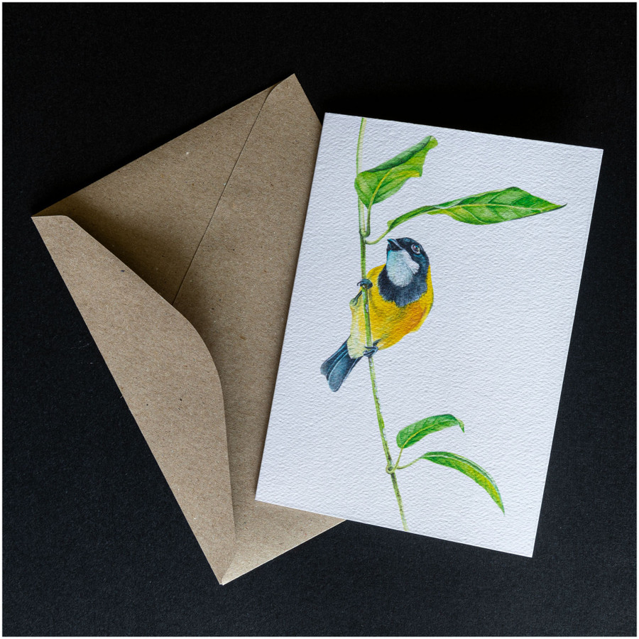 'Golden Whistler' greeting card shown with the envelope supplied