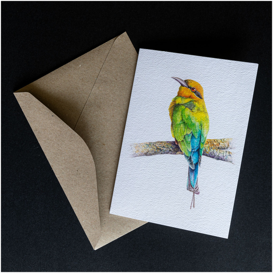 'Rainbow Bee-eater' greeting card shown with the envelope supplied