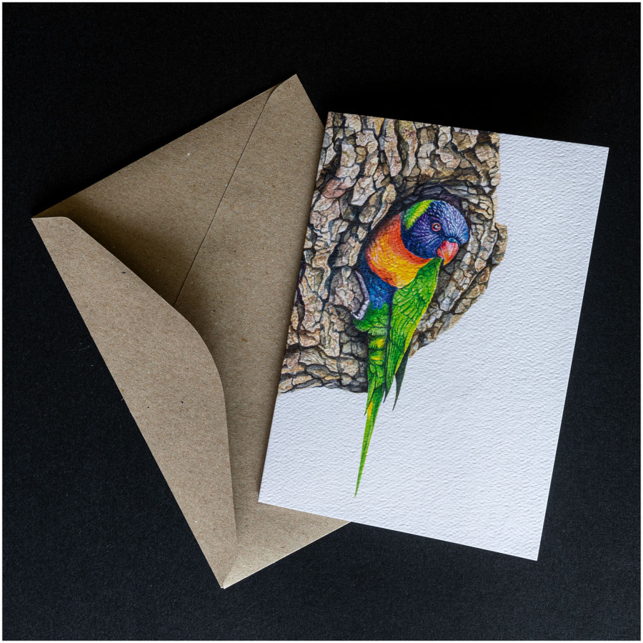 'Lorikeet' greeting card shown with the envelope supplied