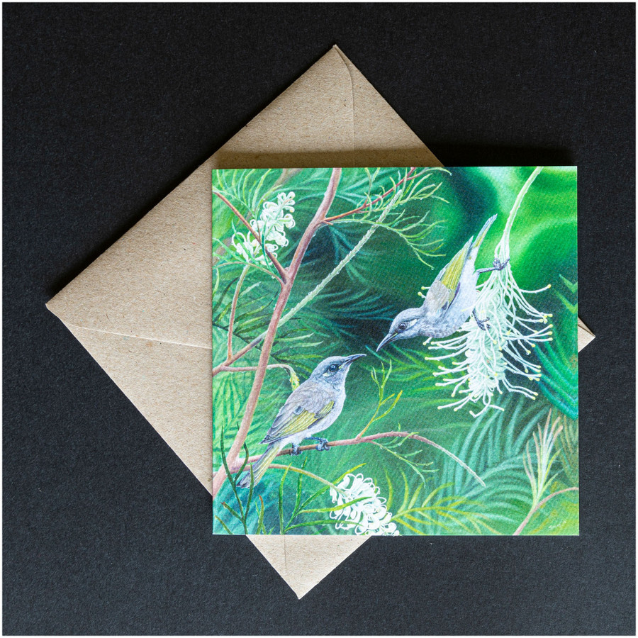 'Love Blossoms' greeting card shown with the envelope supplied