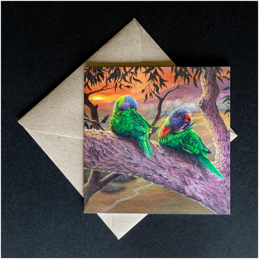 'Morning Chores' greeting card shown with the envelope supplied