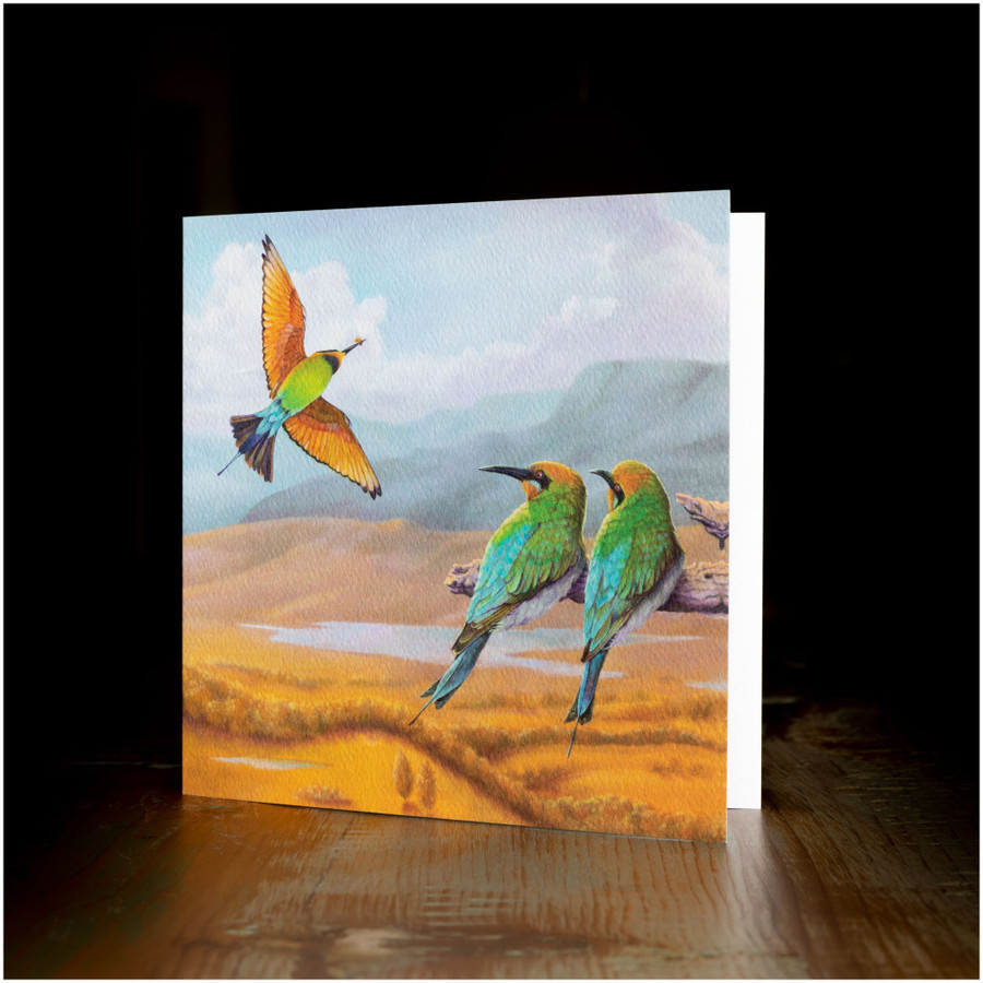 "Greeting card - made from art print of my original art ""Rainbow Bee-eaters"""